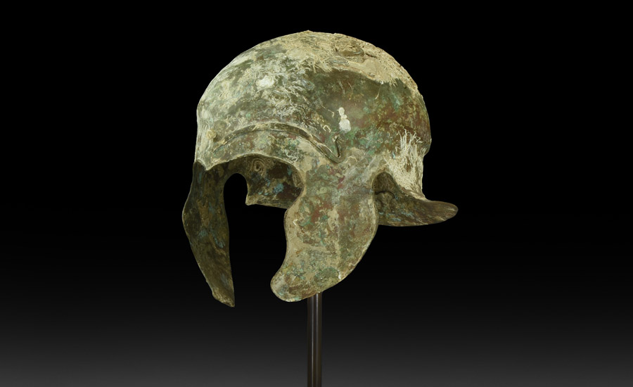Greek Bronze One-Piece Helmet of Chalcidian Type