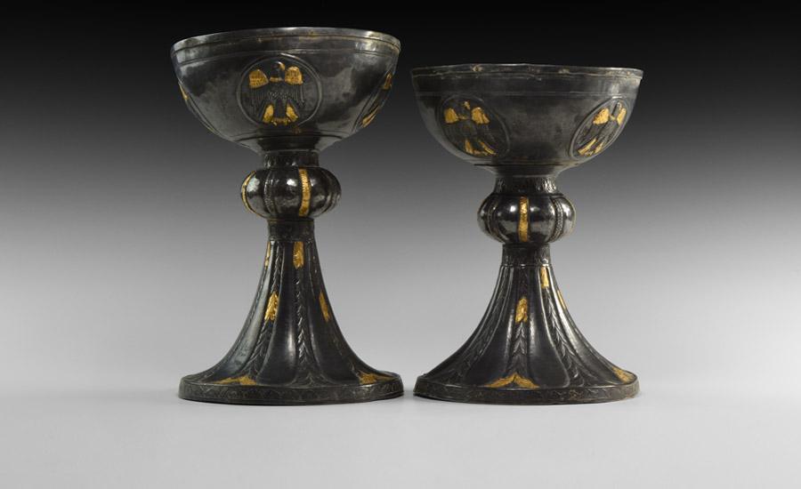 Byzantine Gilt Silver Chalice Pair