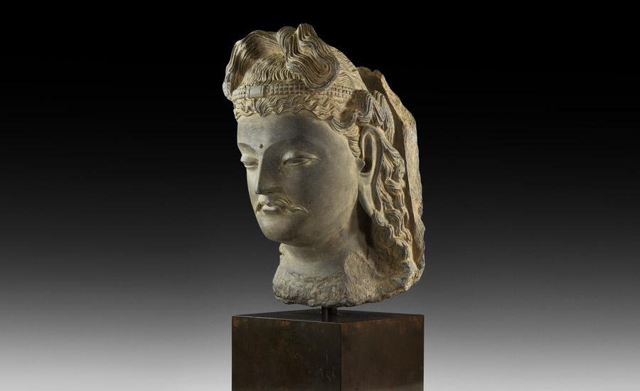 Gandharan Over Life-Size Bodhisattva Head