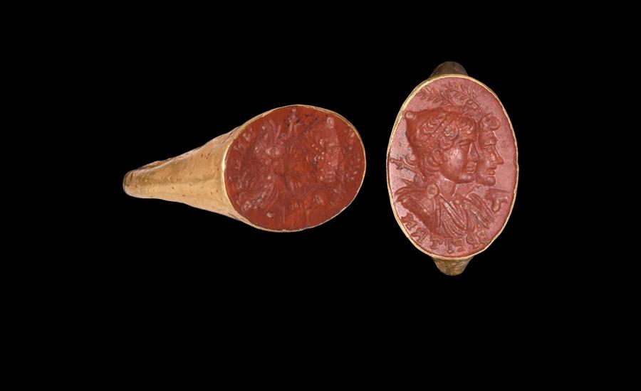 Greek Gold Ring with Jugate Portrait Intaglio Gemstone