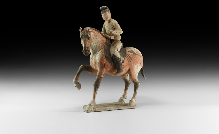 Chinese Tang Horse and Rider Figurine