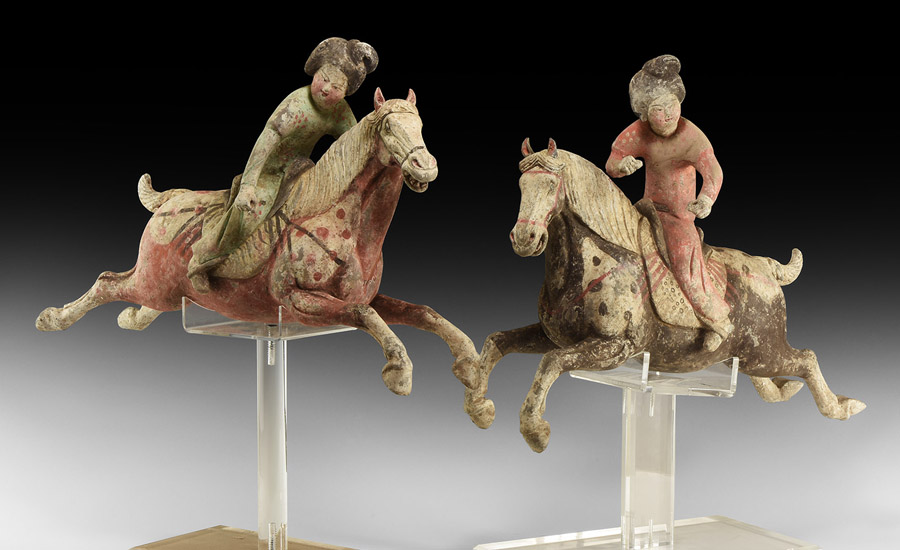 Chinese Tang Polo Player Figurine Pair