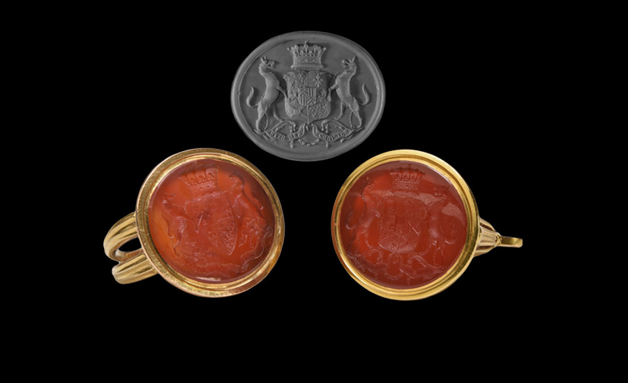 Earl of Lucan Gold Armorial Seal Ring and Fob Seal Pair