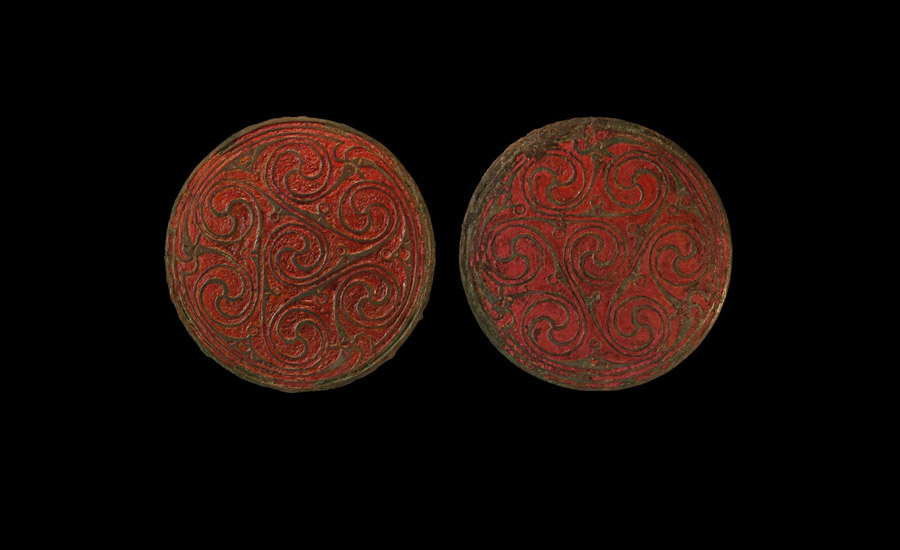 Large Anglo-Saxon Enamelled Hanging Bowl Mount Pair