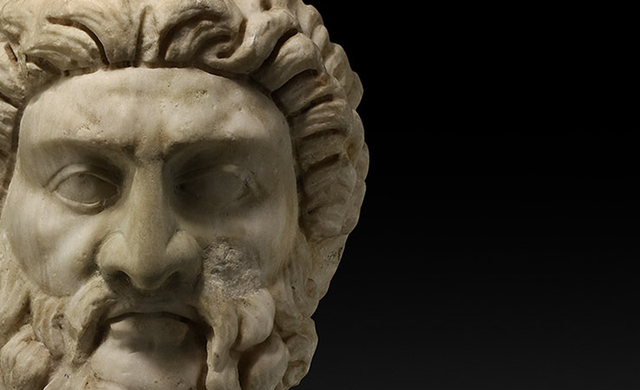 Large Roman Head of Asclepius, God of Medicine