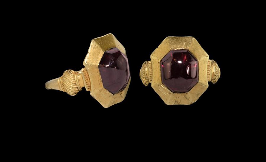 The 'Kingswood' Medieval Plantagenet Gold Ring with Garnet £6,000-£8,000