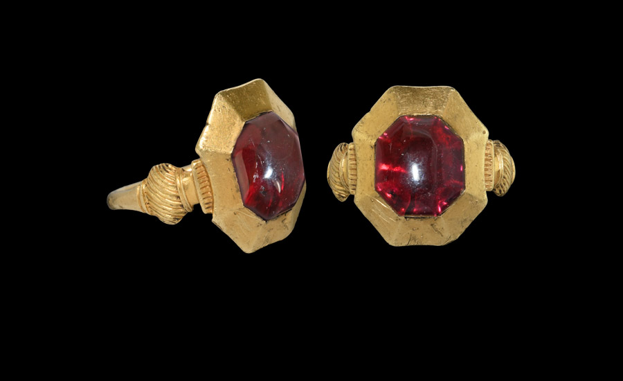 The 'Kingswood' Medieval Plantagenet Gold Ring with Garnet £6,000-£8,000