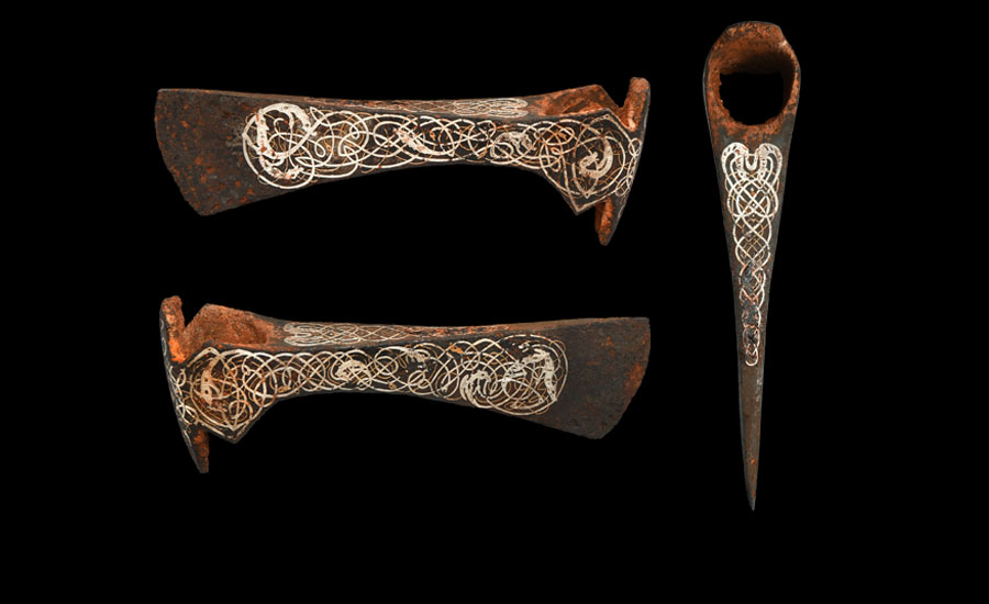 Viking Silver and Gold Inlaid Axehead £8,000-£10,000