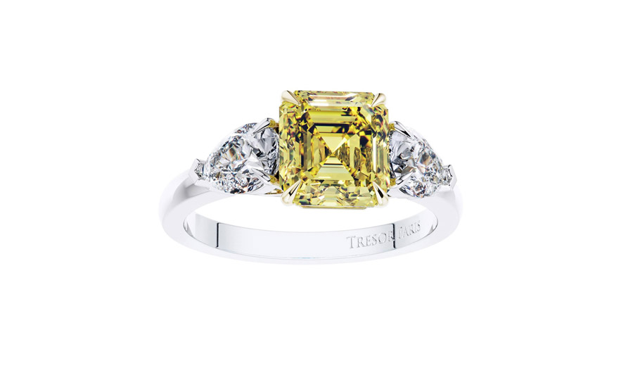 2.19 Carat GIA Fancy Vivid Yellow 1.02ct White Diamond Engagement Ring Platinum