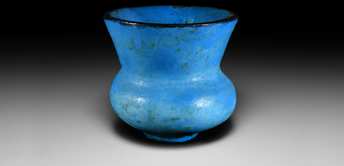 Egyptian Bright Blue Faience Cup