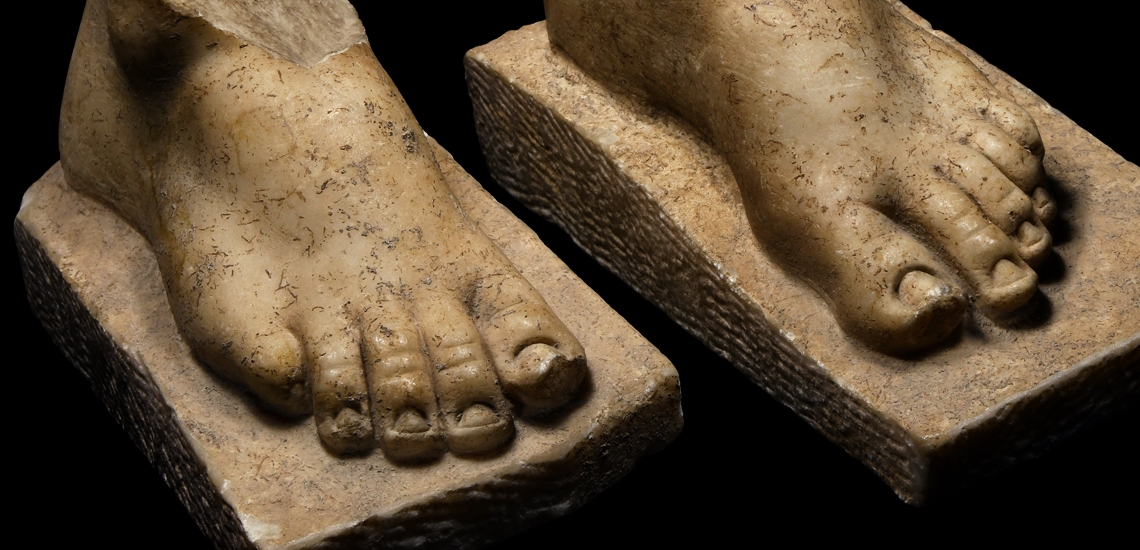 Roman Marble Statue Foot Pair