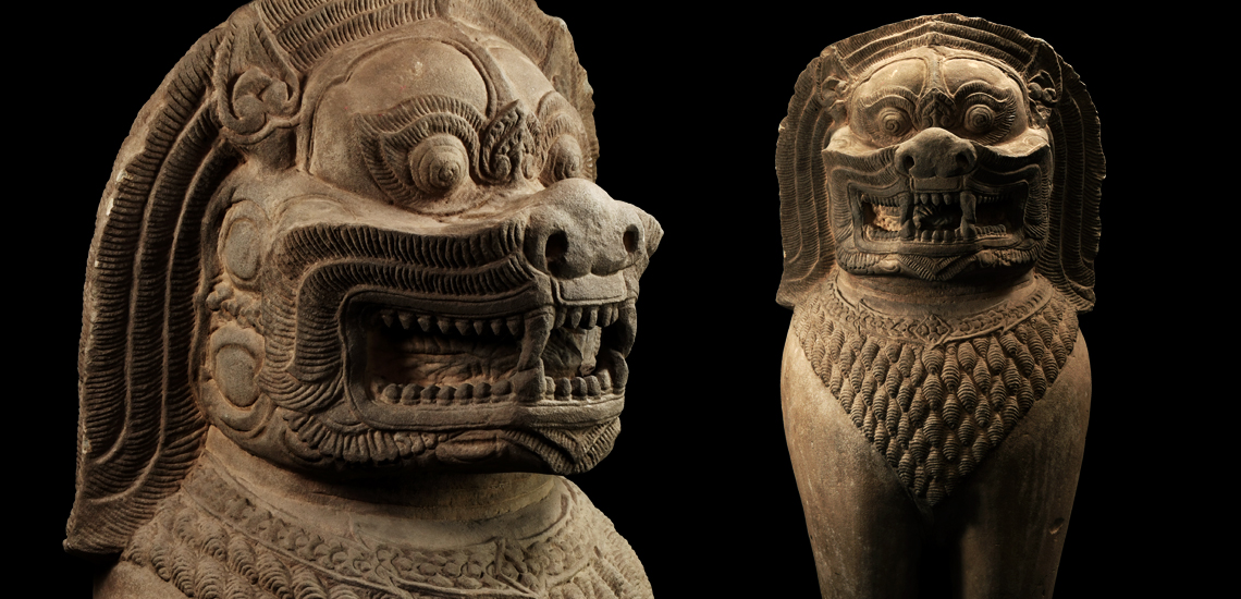 Khmer Sandstone Guardian Figure