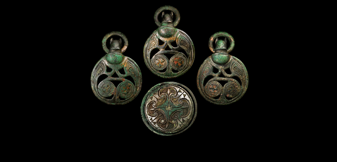 'The Scotch Corner' Anglo-Saxon Hanging Bowl Mounts and Bowl Group