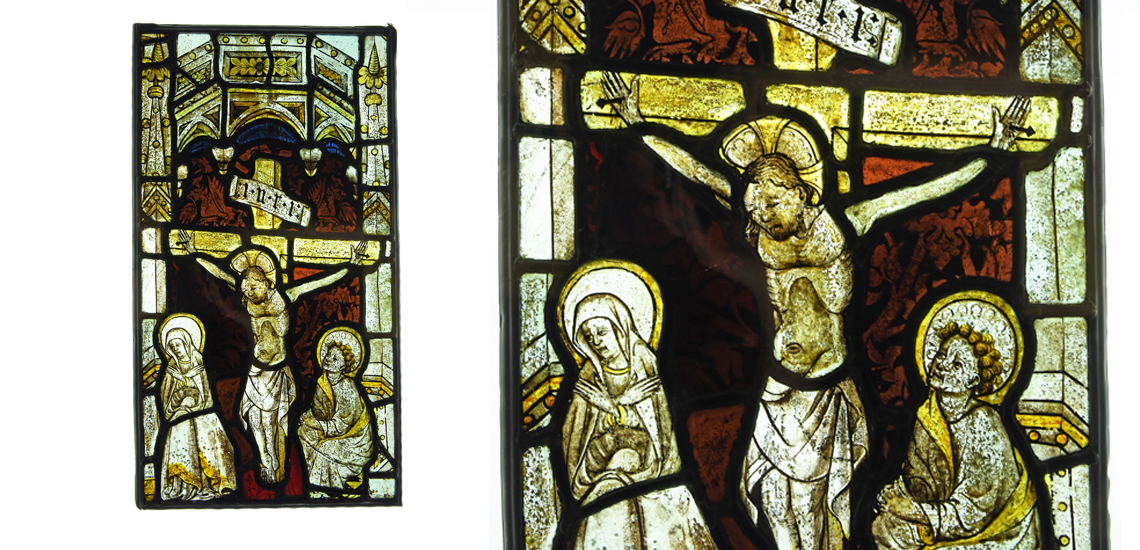 Medieval Stained Glass Panel with the Crucifixion, Virgin and Saint Paul £6,000 - £8,000