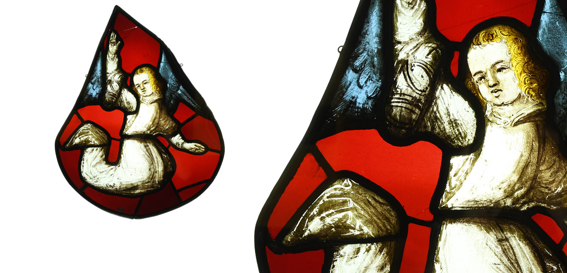 Medieval Stained Glass Panel with Angel £4,000 - £6,000