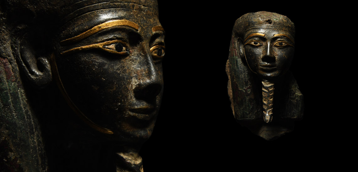 Egyptian Bronze Mask with Gold Inlaid Eyes, Eyebrows and Face £50,000 - £70,000