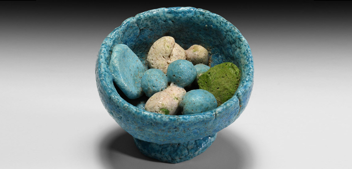 Egyptian Blue Glazed Bowl with Offerings: Starting at £800
