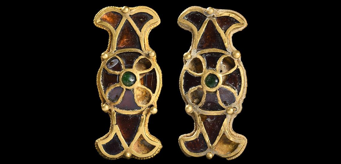 Merovingian Gold and Garnet Shield Mount Pair: Starting at £6,000