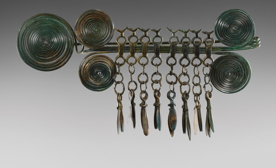 Bronze Age Massive Brooch with Pendants